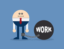 Character Locked In Work Ball And Chain Stock Photos