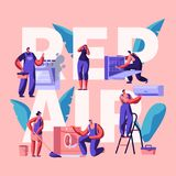 Character Making Repair Banner. Technical Servicing, Fix or Replacing Devices, Equipment and Machinery in a House. Fix Washer. Conditioner and Dishwasher. Flat stock illustration