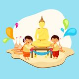 Character of malaysian happy man and women doing worship of buddhist temple. Character of malaysian happy man and women doing worship of buddhist temple on stock illustration