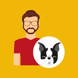 Character man bearded pet french bulldog graphic Royalty Free Stock Photography