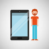 Character man bearded with smartphone shiny layer. Vector illustration eps 10 Stock Illustration