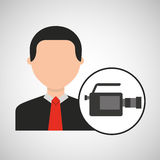 Character man camera film media. Vector illustration eps 10 Stock Photo