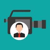 Character man camera film media. Vector illustration eps 10 Stock Photography