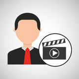 Character man clapper movie media. Vector illustration eps 10 Royalty Free Stock Photo