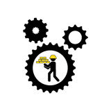 Character man construction gears with bricks icon Royalty Free Stock Images