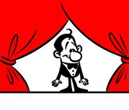 Character man entertainer theater curtains Royalty Free Stock Photography