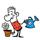 Character man garden watering flower Royalty Free Stock Photo