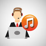 Character man headphones computer with music symbol icon. Vector illustration eps 10 Royalty Free Stock Photography