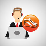 Character man headphones computer with sneaker run Royalty Free Stock Photo
