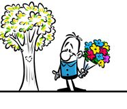 Character man love bouquet flowers Royalty Free Stock Image