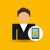 Character man money digital samrtphone icon. Illustration Stock Photo