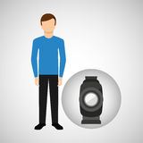 Character man movie concept equipment film. Vector illustration eps 10 Stock Photography