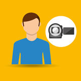 Character man movie concept photo video camera Stock Images