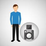 Character man movie concept snapshot camera Royalty Free Stock Image
