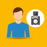 Character man movie concept snapshot camera Stock Photos