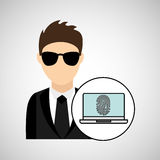 Character man protected digital laptop Royalty Free Stock Photography
