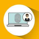 Character man protected digital laptop Royalty Free Stock Images