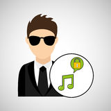 Character man protected digital music Stock Image