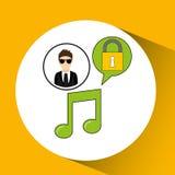Character man protected digital music Royalty Free Stock Photo