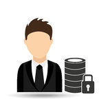 character man with security database design Royalty Free Stock Photos