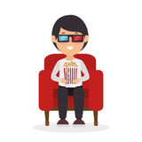 Character Man Sitting Watch 3d Movie With Pop Corn Royalty Free Stock Image