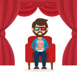 Character man sitting watch 3d movie with pop corn. Vector illustration eps 10 Royalty Free Stock Images