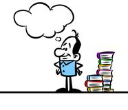 Character man smart reading books Royalty Free Stock Image