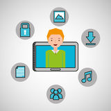 Character man technology social media. Vector illustration eps 10 Royalty Free Stock Image