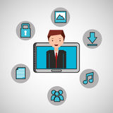 Character man technology social media. Vector illustration eps 10 Stock Photos