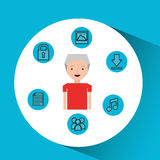 Character man technology social media. Vector illustration eps 10 Stock Images