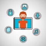 Character man technology social media. Vector illustration eps 10 Royalty Free Stock Images