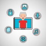 Character man technology social media. Vector illustration eps 10 Royalty Free Stock Photos