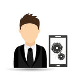 character man with technology work solution design Royalty Free Stock Photography