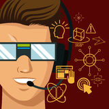 Character man vr reality glasses gadgte fiction. Character man vr reality glasses gadget fiction vector illustration eps 10 Royalty Free Stock Image