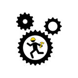 character man worker construction and gears with hammer icon Stock Photography