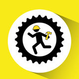 character man worker construction and gears with hammer icon Royalty Free Stock Photos