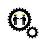character man worker construction and gears icon Stock Image