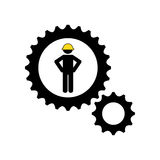 character man worker construction and gears icon Stock Photography