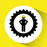 character man worker construction and gears icon Royalty Free Stock Photo