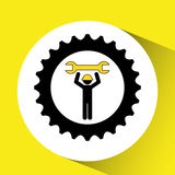 character man worker construction and gears with wrench icon Stock Photos