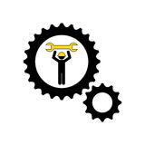 character man worker construction and gears with wrench icon Royalty Free Stock Photography