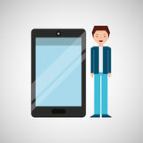 Character man young with smartphone shiny layer. Vector illustration eps 10 Royalty Free Illustration