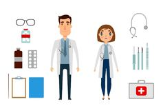 Character of medicine person man and woman. Flat and cartoon style. Vector illustration. White background. Stock Images