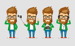 Character men hipster. The set of poses with the use  popular gadgets. Collection of the most commonly used situation with modern technology Stock Images