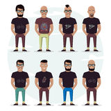 Character mens set on a white background. People with a beard, bald, with a mustache and glasses. Stylish high detailed graphic. C. Artoon male. In fashion Stock Photo