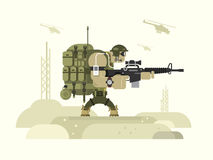 Character military peacekeeper. Army soldier and war, weapon and uniform, flat vector illustration stock illustration