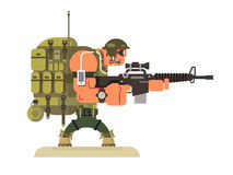 Character military peacekeeper. Army soldier and war, weapon and uniform, flat vector illustration vector illustration