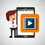 Character with mobile app movie video. Vector illustration eps 10 Royalty Free Stock Photography