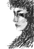 Character monochrome women with abstract black inc hair Stock Photos