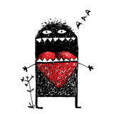 Character Monster in Love with Red Heart Stock Image